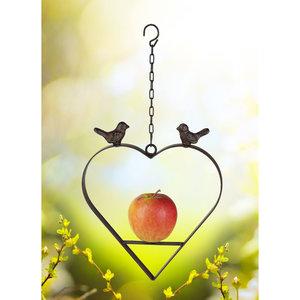 Decopatent Decopatent® Vogelvoerstation voor Appels - Vogelvoederhanger Hartvorm met 2 Vogels - Gietijzer - Hangende Vogel Appel hanger
