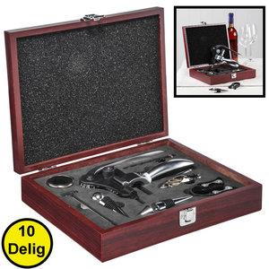Decopatent Decopatent® 10-Delige Luxe Wijnset - Wijn fles accessoires Set - Wine tools - Wijn Kurken trekker - In Luxe Houten opbergbox - Cadeau set