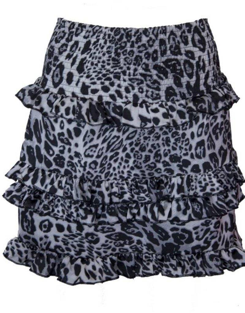 Rebelz collection Ruffle leopard rokje grijs