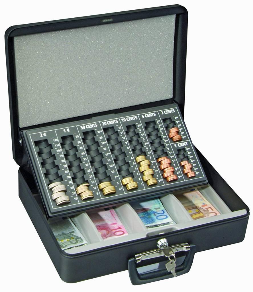 Geldkoffer London met handvat en Euro inzet - Zwart