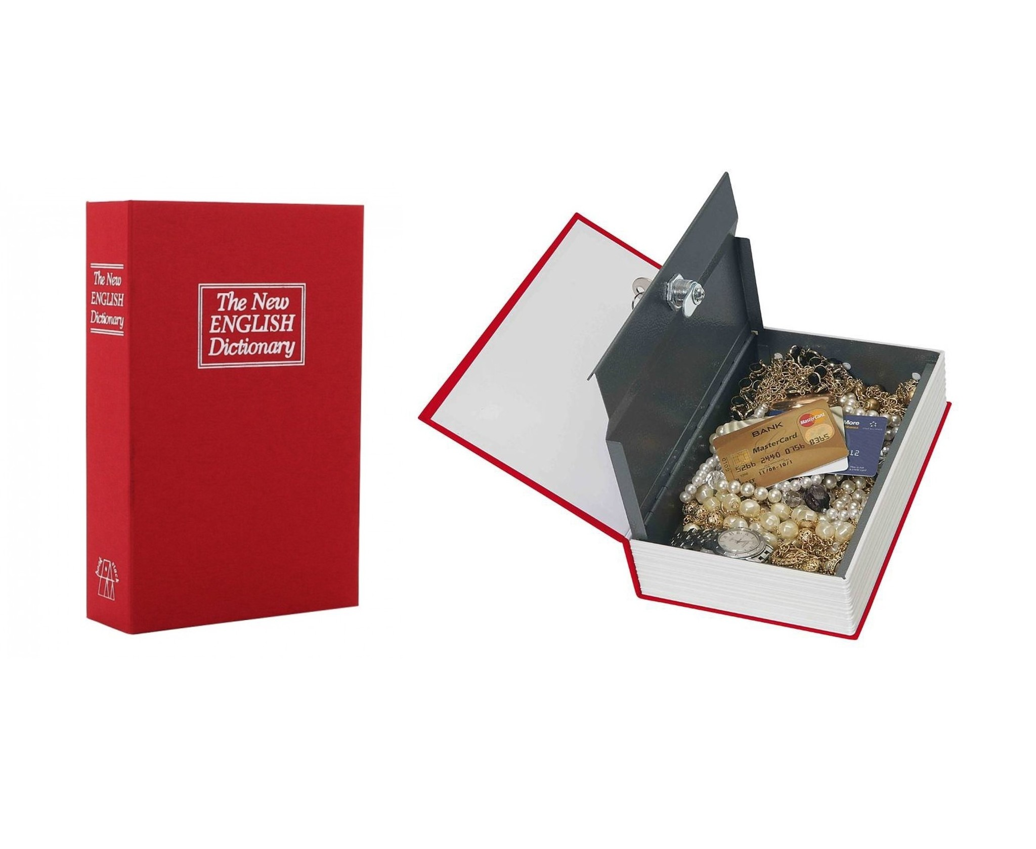 Boekkluis - kluis verborgen in een boek -Rood