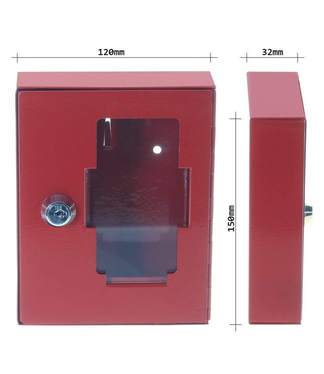 Rottner Tresor Noodsleutelkast NS1  (nooduitgang) met hamer - Rood