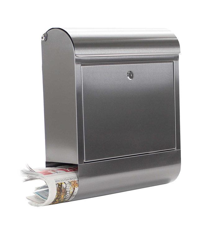 Rottner Tresor  RVS brievenbus Rondello met krantenrolhouder