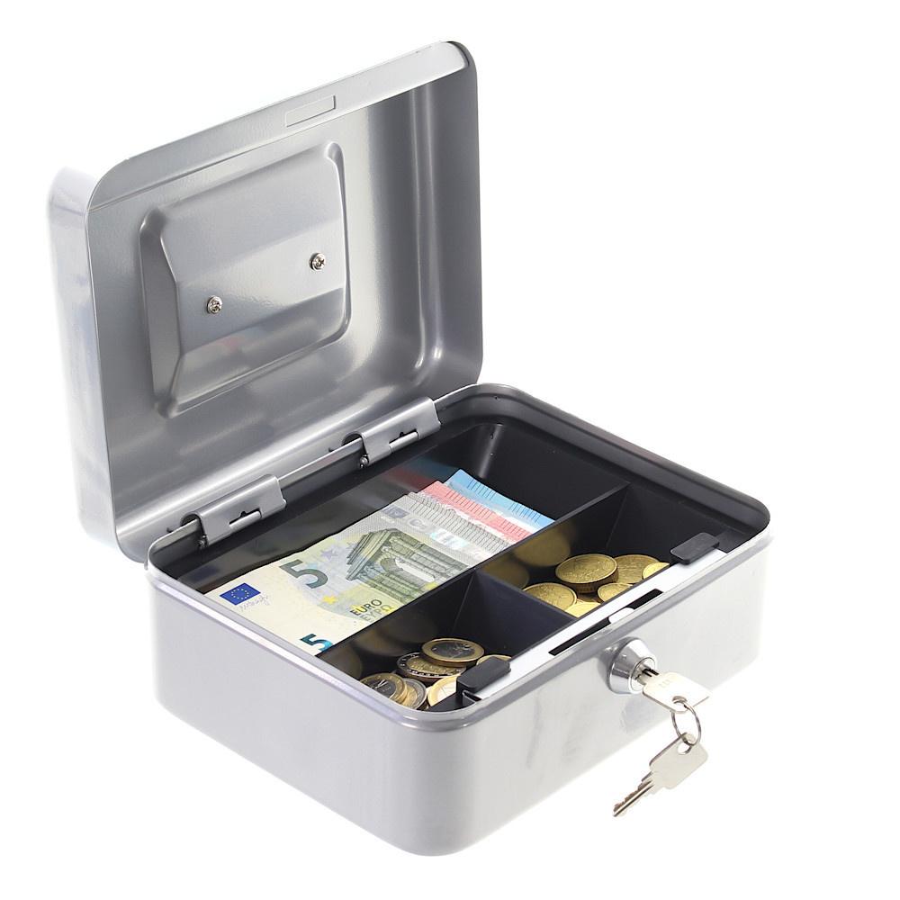 Geldkistje HomeStar Cash 2 - met handvat - Zilver