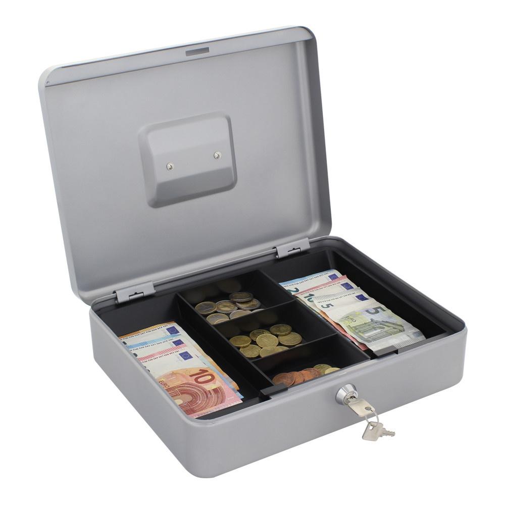Geldkistje HomeStar Cash 4 - met handvat - Zilver