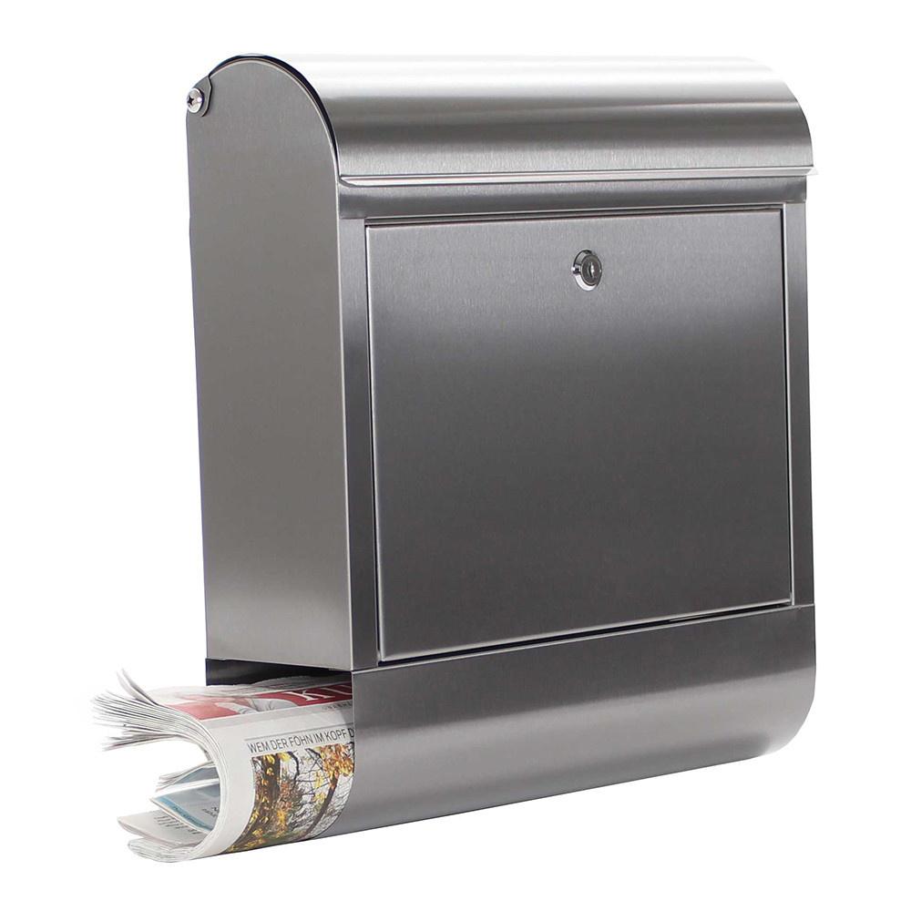 RVS brievenbus Rondello met krantenrolhouder - SECOND CHANCE