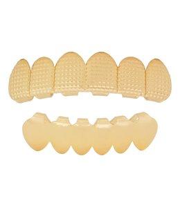 GrillzShop Grillz tanden Goudkleurig - boven- en onderkant - Roast- op maat maken
