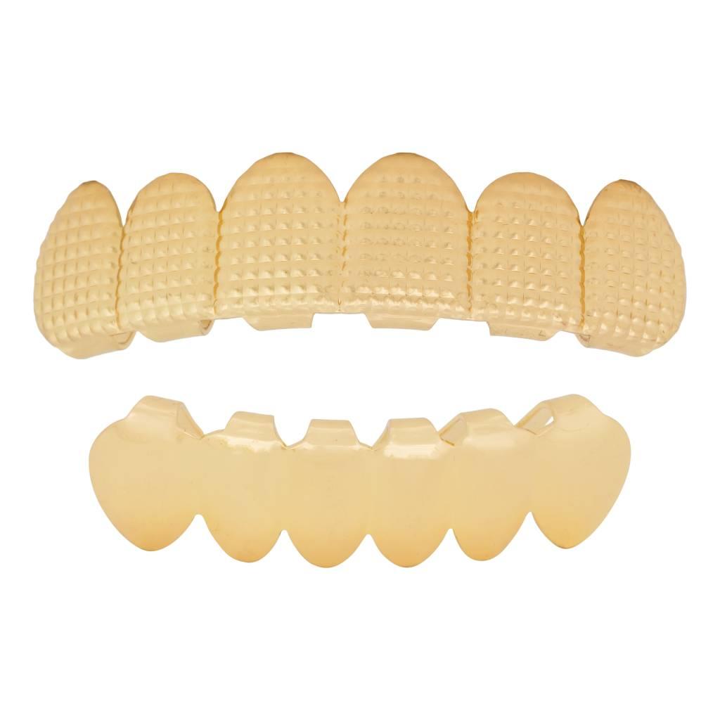 Grillz tanden Goud – bovenkant en onderkant – Roast- op maat te maken