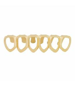 GrillzShop Grillz tanden - onderkant - Goudkleurig Hollow - zelf op maat te maken