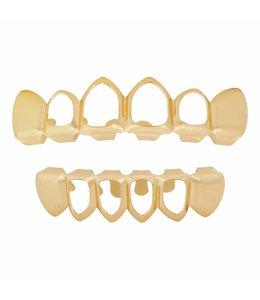 GrillzShop Grillz tanden Goudkleurig - bovenkant en onderkant - Mid Hollow