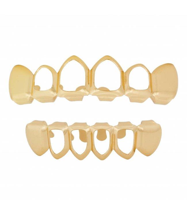 GrillzShop Grillz tanden Goud - bovenkant en onderkant - Mid Hollow