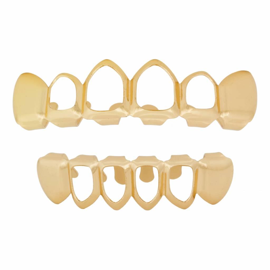 Grillz tanden Goud – bovenkant en onderkant – Mid Hollow