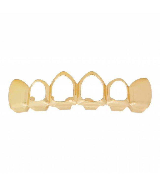 GrillzShop Grillz tanden - bovenkant- Goud Mid Hollow- zelf op maat te maken