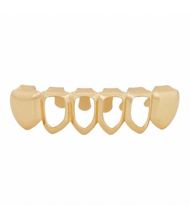GrillzShop Grillz tanden - onderkant - Goud Mid Hollow - zelf op maat te maken