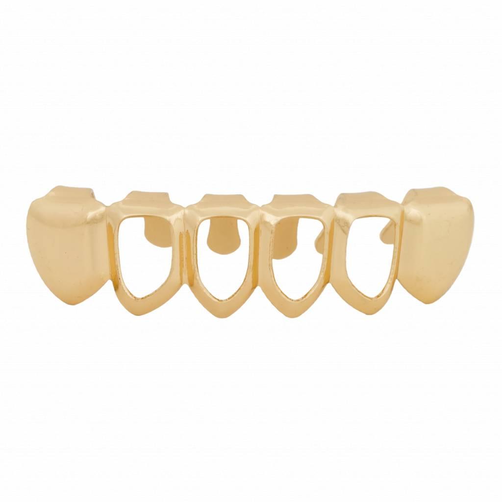 Grillz tanden – onderkant – Goud Mid Hollow – zelf op maat te maken
