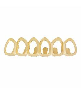 GrillzShop Grillz tanden - bovenkant - Goudkleurig Hollow - zelf op maat te maken