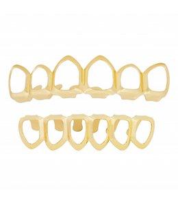 GrillzShop Grillz tanden - bovenkant en onderkant - Hollow  - Goud