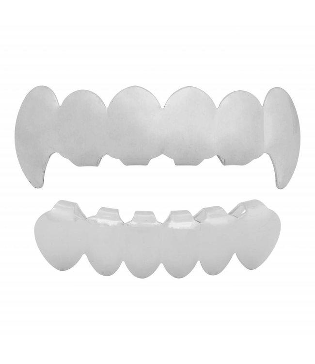 GrillzShop Grillz tanden - bovenkant en onderkant - Zilverkleurig Vampier