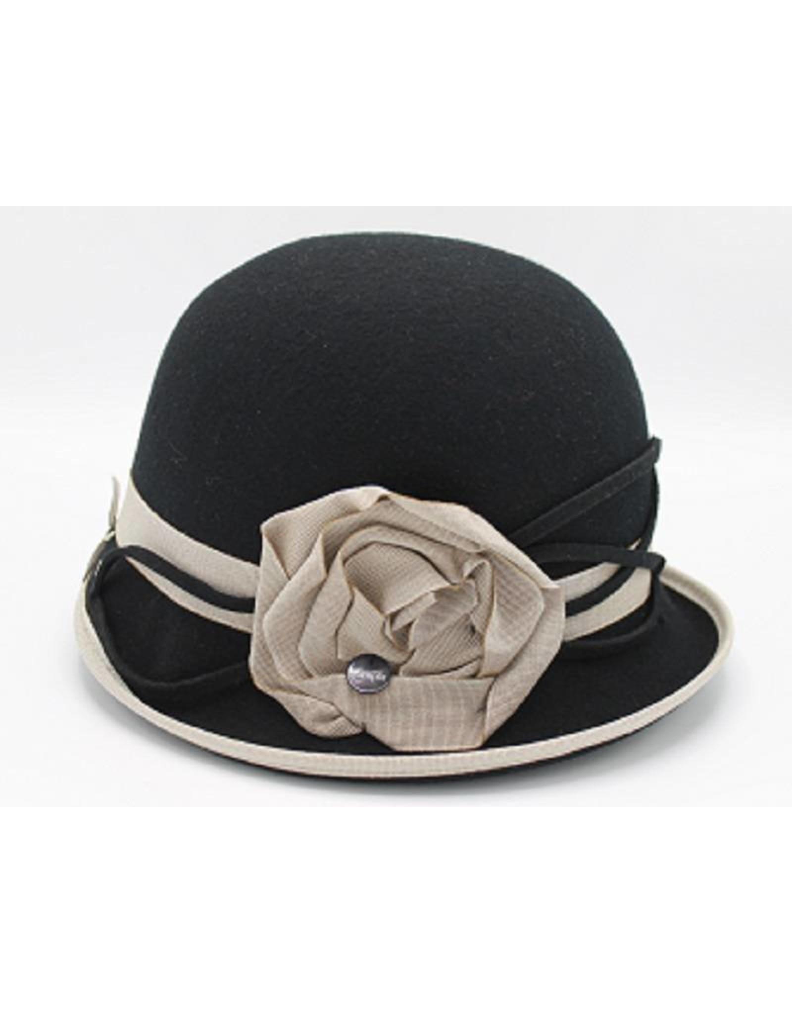 Black bowler hat with Beige Flower - Complit