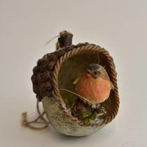 Vogel in nest 11x10x12 cm bruin/oranje