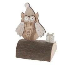 Wooden owls on stem 8x7x12cm Grey