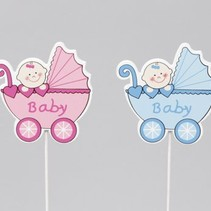 cb. 8 wooden baby deco/stick pink/blue 6x6.5cm