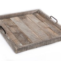 Hocker dienblad antique grijshout, metalen grepen 60x60x7cm
