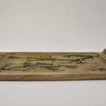Dienblad mangohout met nikkel handvaten 50x23x8cm