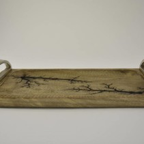 Dienblad mangohout met nikkel handvaten 40x18x7cm