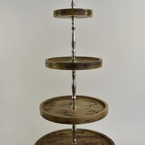 Etagere 4 laags met mangohout en nikkel 46x46x110cm