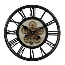 Wandklok 'open'-uurwerk/cijfers dia54,5x7cm, antic zwart