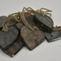 Houten hart 7x7cm naturel 10 stuks