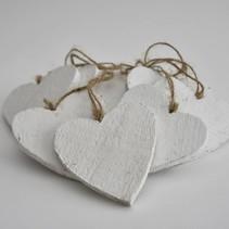 Houten hart 10x10cm 10stk white-wash