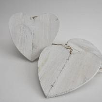 Houten hart 25cm 5stk white-wash