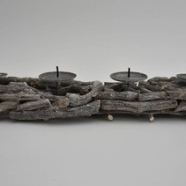 Grapewood panel with candleholders 52x12x8cm Grey
