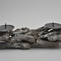 Grapewood panel with candleholders 32x11x8cm Grey