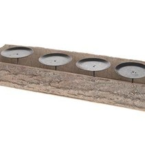 Bark candle holder 45x15x6cm White-wash