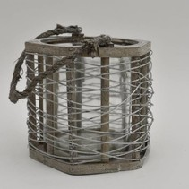 Lantaarn Six metaaldraad grey-wash met jute hengsel XL