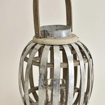 Lantaarn hout/zink hoog L met hengsel grey-wash D19 H38,5cm