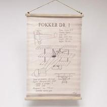 """Wandkaart/perkament """"fokker vliegtuig""""linnen ecru, 80x52cm"""