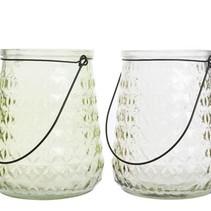 gl lantern w handle 2col assorted 16x16x20cm