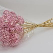 Pak á 25 Hart barok roze flock 7x7cm op 50cm stok