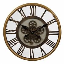 Wandklok 'open'-uurwerk/cijfers dia 54,5x7cm messing