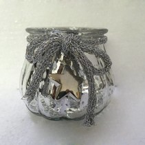 T-light hldr.w/rib&star silver shine D10H8cm