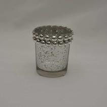 Wax.glas zilver 7x6,5 cm bolletjesrand