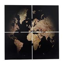 Wandkaart 'Globe' 4-delig 80x80x3cm zwart