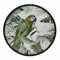 Wanddecoratie MDF rond 'Papegaai' dia60x3cm