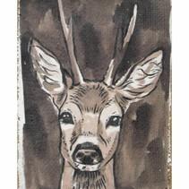 """Linen wall art """"Deer"""" 15x21x2.5cm Multi"""
