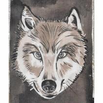 """Linen wall art """"Wolf"""" 21x30x2.5cm Multi"""
