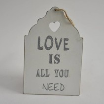Hanger hout wit ''Love is all you need'' 20x13x1cm